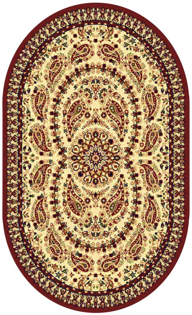Ковер Kamalak tekstil, овальный, цвет: кремовый, 100 x 150 см. УК-0186УК-0186Ковры-паласы выполнены из полипропилена. Ковры обладают хорошими показателями теплостойкости и шумоизоляции. Являются гиппоалергенными. За счет невысокого ворса ковры легко чистить. Вам придется по душе широкая гамма цветов и возможность гармонично оформить интерьер. Практичный и устойчивый к износу ворс - от постоянного хождения не истирается, не накапливает статическое электричество. Структура волокна в полипропиленовых моделях гладкая, поэтому грязь не может выесться, на ворсе она скапливается с трудом. Полипропилен не впитывает влагу, отталкивает водянистые пятна. Уход: Самый простой способ избавить изделие от грязи – пропылесосить его с обеих сторон (лицевой и изнаночной). Влажная уборка с применением шампуней и моющих средств не противопоказана. Если шерсти и шёлку универсальные чистящие составы не подходят, то для синтетики они придутся в самый раз. Хранить их нужно рулоном, не складывая «салфеткой». При надлежащем уходе синтетический ковёр прослужит долго, не утратив ни...