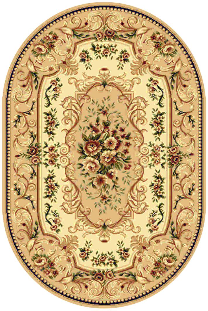 Ковер Kamalak tekstil, овальный, цвет: бежевый, 100 x 150 см. УК-0351УК-0351Ковры-паласы выполнены из полипропилена. Ковры обладают хорошими показателями теплостойкости и шумоизоляции. Являются гиппоалергенными. За счет невысокого ворса ковры легко чистить. Вам придется по душе широкая гамма цветов и возможность гармонично оформить интерьер. Практичный и устойчивый к износу ворс - от постоянного хождения не истирается, не накапливает статическое электричество. Структура волокна в полипропиленовых моделях гладкая, поэтому грязь не может выесться, на ворсе она скапливается с трудом. Полипропилен не впитывает влагу, отталкивает водянистые пятна. Уход: Самый простой способ избавить изделие от грязи – пропылесосить его с обеих сторон (лицевой и изнаночной). Влажная уборка с применением шампуней и моющих средств не противопоказана. Если шерсти и шёлку универсальные чистящие составы не подходят, то для синтетики они придутся в самый раз. Хранить их нужно рулоном, не складывая «салфеткой». При надлежащем уходе синтетический ковёр прослужит долго, не утратив ни...