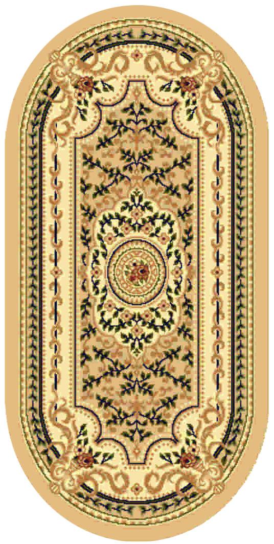 """Ковер """"Kamalak tekstil"""", овальный, цвет: бежевый, 60 x 110 см. УК-0399"""