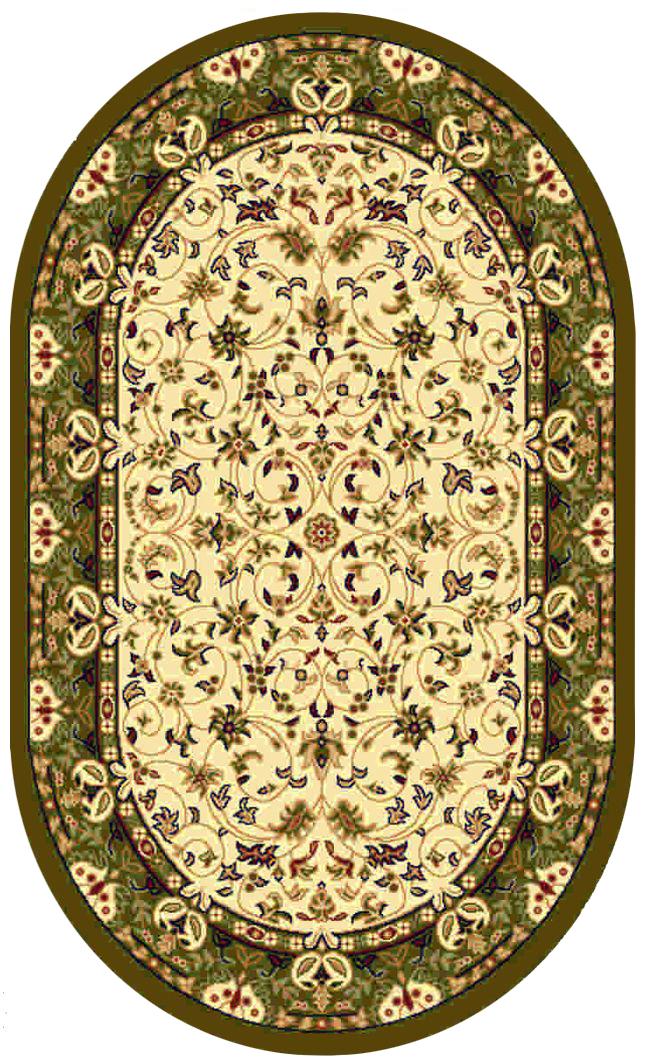 Ковер Kamalak tekstil, овальный, цвет: кремовый, 100 x 150 см. УК-0144УК-0144Ковры-паласы выполнены из полипропилена. Ковры обладают хорошими показателями теплостойкости и шумоизоляции. Являются гиппоалергенными. За счет невысокого ворса ковры легко чистить. Вам придется по душе широкая гамма цветов и возможность гармонично оформить интерьер. Практичный и устойчивый к износу ворс - от постоянного хождения не истирается, не накапливает статическое электричество. Структура волокна в полипропиленовых моделях гладкая, поэтому грязь не может выесться, на ворсе она скапливается с трудом. Полипропилен не впитывает влагу, отталкивает водянистые пятна. Уход: Самый простой способ избавить изделие от грязи – пропылесосить его с обеих сторон (лицевой и изнаночной). Влажная уборка с применением шампуней и моющих средств не противопоказана. Если шерсти и шёлку универсальные чистящие составы не подходят, то для синтетики они придутся в самый раз. Хранить их нужно рулоном, не складывая «салфеткой». При надлежащем уходе синтетический ковёр прослужит долго, не утратив ни...