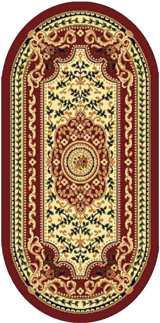 Ковер Kamalak tekstil, овальный, цвет: кремовый, 80 x 150 см. УК-0415УК-0415Ковры-паласы выполнены из полипропилена. Ковры обладают хорошими показателями теплостойкости и шумоизоляции. Являются гиппоалергенными. За счет невысокого ворса ковры легко чистить. Вам придется по душе широкая гамма цветов и возможность гармонично оформить интерьер. Практичный и устойчивый к износу ворс - от постоянного хождения не истирается, не накапливает статическое электричество. Структура волокна в полипропиленовых моделях гладкая, поэтому грязь не может выесться, на ворсе она скапливается с трудом. Полипропилен не впитывает влагу, отталкивает водянистые пятна. Уход: Самый простой способ избавить изделие от грязи – пропылесосить его с обеих сторон (лицевой и изнаночной). Влажная уборка с применением шампуней и моющих средств не противопоказана. Если шерсти и шёлку универсальные чистящие составы не подходят, то для синтетики они придутся в самый раз. Хранить их нужно рулоном, не складывая «салфеткой». При надлежащем уходе синтетический ковёр прослужит долго, не утратив ни...