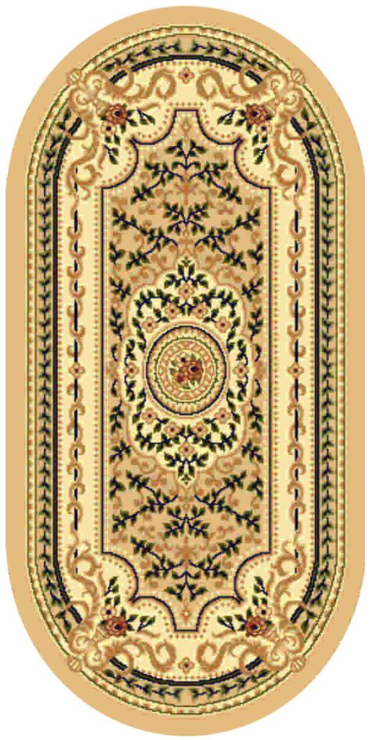 Ковер Kamalak tekstil, овальный, цвет: бежевый, 100 x 150 см. УК-0395УК-0395Ковры-паласы выполнены из полипропилена. Ковры обладают хорошими показателями теплостойкости и шумоизоляции. Являются гиппоалергенными. За счет невысокого ворса ковры легко чистить. Вам придется по душе широкая гамма цветов и возможность гармонично оформить интерьер. Практичный и устойчивый к износу ворс - от постоянного хождения не истирается, не накапливает статическое электричество. Структура волокна в полипропиленовых моделях гладкая, поэтому грязь не может выесться, на ворсе она скапливается с трудом. Полипропилен не впитывает влагу, отталкивает водянистые пятна. Уход: Самый простой способ избавить изделие от грязи – пропылесосить его с обеих сторон (лицевой и изнаночной). Влажная уборка с применением шампуней и моющих средств не противопоказана. Если шерсти и шёлку универсальные чистящие составы не подходят, то для синтетики они придутся в самый раз. Хранить их нужно рулоном, не складывая «салфеткой». При надлежащем уходе синтетический ковёр прослужит долго, не утратив ни...