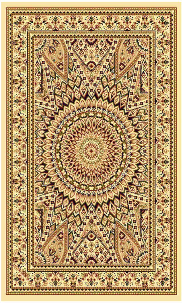 Ковер Kamalak tekstil, прямоугольный, цвет: кремовый, 100 x 150 см. УК-0248УК-0248Ковры-паласы выполнены из полипропилена. Ковры обладают хорошими показателями теплостойкости и шумоизоляции. Являются гиппоалергенными. За счет невысокого ворса ковры легко чистить. Вам придется по душе широкая гамма цветов и возможность гармонично оформить интерьер. Практичный и устойчивый к износу ворс - от постоянного хождения не истирается, не накапливает статическое электричество. Структура волокна в полипропиленовых моделях гладкая, поэтому грязь не может выесться, на ворсе она скапливается с трудом. Полипропилен не впитывает влагу, отталкивает водянистые пятна. Уход: Самый простой способ избавить изделие от грязи – пропылесосить его с обеих сторон (лицевой и изнаночной). Влажная уборка с применением шампуней и моющих средств не противопоказана. Если шерсти и шёлку универсальные чистящие составы не подходят, то для синтетики они придутся в самый раз. Хранить их нужно рулоном, не складывая «салфеткой». При надлежащем уходе синтетический ковёр прослужит долго, не утратив ни...