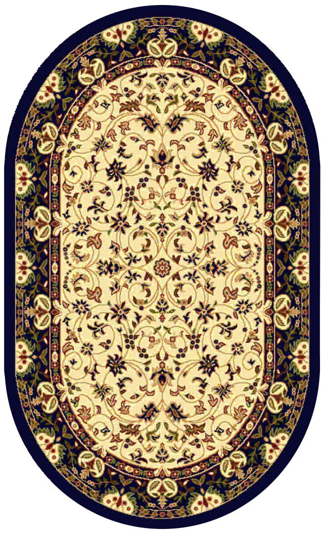 Ковер Kamalak tekstil, овальный, цвет: кремовый, 60 x 110 см. УК-0142УК-0142Ковры-паласы выполнены из полипропилена. Ковры обладают хорошими показателями теплостойкости и шумоизоляции. Являются гиппоалергенными. За счет невысокого ворса ковры легко чистить. Вам придется по душе широкая гамма цветов и возможность гармонично оформить интерьер. Практичный и устойчивый к износу ворс - от постоянного хождения не истирается, не накапливает статическое электричество. Структура волокна в полипропиленовых моделях гладкая, поэтому грязь не может выесться, на ворсе она скапливается с трудом. Полипропилен не впитывает влагу, отталкивает водянистые пятна. Уход: Самый простой способ избавить изделие от грязи – пропылесосить его с обеих сторон (лицевой и изнаночной). Влажная уборка с применением шампуней и моющих средств не противопоказана. Если шерсти и шёлку универсальные чистящие составы не подходят, то для синтетики они придутся в самый раз. Хранить их нужно рулоном, не складывая «салфеткой». При надлежащем уходе синтетический ковёр прослужит долго, не утратив ни...