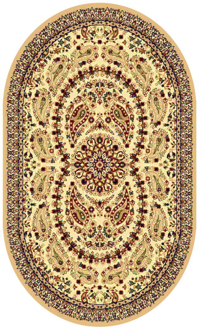 Ковер Kamalak tekstil, овальный, цвет: кремовый, 100 x 150 см. УК-0168УК-0168Ковры-паласы выполнены из полипропилена. Ковры обладают хорошими показателями теплостойкости и шумоизоляции. Являются гиппоалергенными. За счет невысокого ворса ковры легко чистить. Вам придется по душе широкая гамма цветов и возможность гармонично оформить интерьер. Практичный и устойчивый к износу ворс - от постоянного хождения не истирается, не накапливает статическое электричество. Структура волокна в полипропиленовых моделях гладкая, поэтому грязь не может выесться, на ворсе она скапливается с трудом. Полипропилен не впитывает влагу, отталкивает водянистые пятна. Уход: Самый простой способ избавить изделие от грязи – пропылесосить его с обеих сторон (лицевой и изнаночной). Влажная уборка с применением шампуней и моющих средств не противопоказана. Если шерсти и шёлку универсальные чистящие составы не подходят, то для синтетики они придутся в самый раз. Хранить их нужно рулоном, не складывая «салфеткой». При надлежащем уходе синтетический ковёр прослужит долго, не утратив ни...