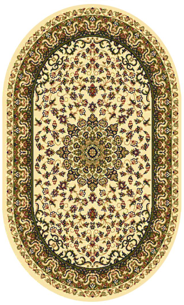 Ковер Kamalak tekstil, овальный, цвет: кремовый, 60 x 110 см. УК-0206УК-0206Ковры-паласы выполнены из полипропилена. Ковры обладают хорошими показателями теплостойкости и шумоизоляции. Являются гиппоалергенными. За счет невысокого ворса ковры легко чистить. Вам придется по душе широкая гамма цветов и возможность гармонично оформить интерьер. Практичный и устойчивый к износу ворс - от постоянного хождения не истирается, не накапливает статическое электричество. Структура волокна в полипропиленовых моделях гладкая, поэтому грязь не может выесться, на ворсе она скапливается с трудом. Полипропилен не впитывает влагу, отталкивает водянистые пятна. Уход: Самый простой способ избавить изделие от грязи – пропылесосить его с обеих сторон (лицевой и изнаночной). Влажная уборка с применением шампуней и моющих средств не противопоказана. Если шерсти и шёлку универсальные чистящие составы не подходят, то для синтетики они придутся в самый раз. Хранить их нужно рулоном, не складывая «салфеткой». При надлежащем уходе синтетический ковёр прослужит долго, не утратив ни...