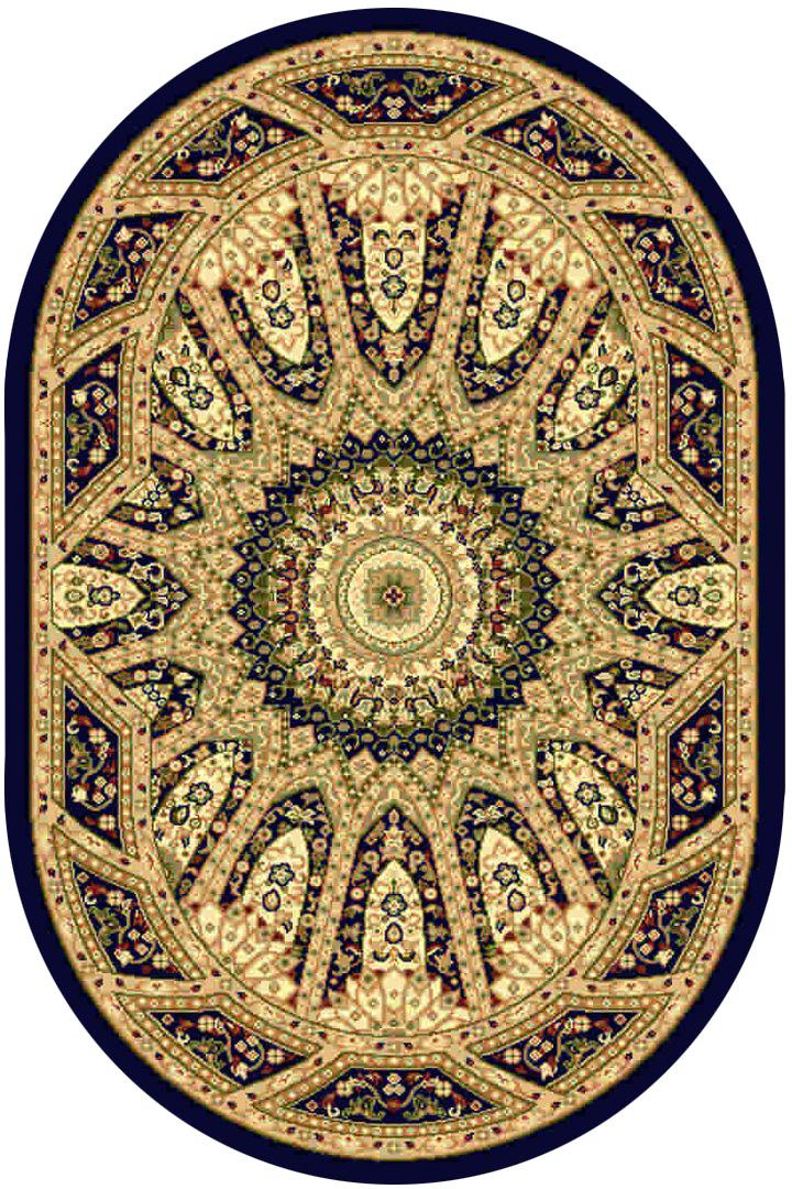 Ковер Kamalak tekstil, овальный, цвет: синий, 100 x 150 см. УК-0225УК-0225Ковры-паласы выполнены из полипропилена. Ковры обладают хорошими показателями теплостойкости и шумоизоляции. Являются гиппоалергенными. За счет невысокого ворса ковры легко чистить. Вам придется по душе широкая гамма цветов и возможность гармонично оформить интерьер. Практичный и устойчивый к износу ворс - от постоянного хождения не истирается, не накапливает статическое электричество. Структура волокна в полипропиленовых моделях гладкая, поэтому грязь не может выесться, на ворсе она скапливается с трудом. Полипропилен не впитывает влагу, отталкивает водянистые пятна. Уход: Самый простой способ избавить изделие от грязи – пропылесосить его с обеих сторон (лицевой и изнаночной). Влажная уборка с применением шампуней и моющих средств не противопоказана. Если шерсти и шёлку универсальные чистящие составы не подходят, то для синтетики они придутся в самый раз. Хранить их нужно рулоном, не складывая «салфеткой». При надлежащем уходе синтетический ковёр прослужит долго, не утратив ни...
