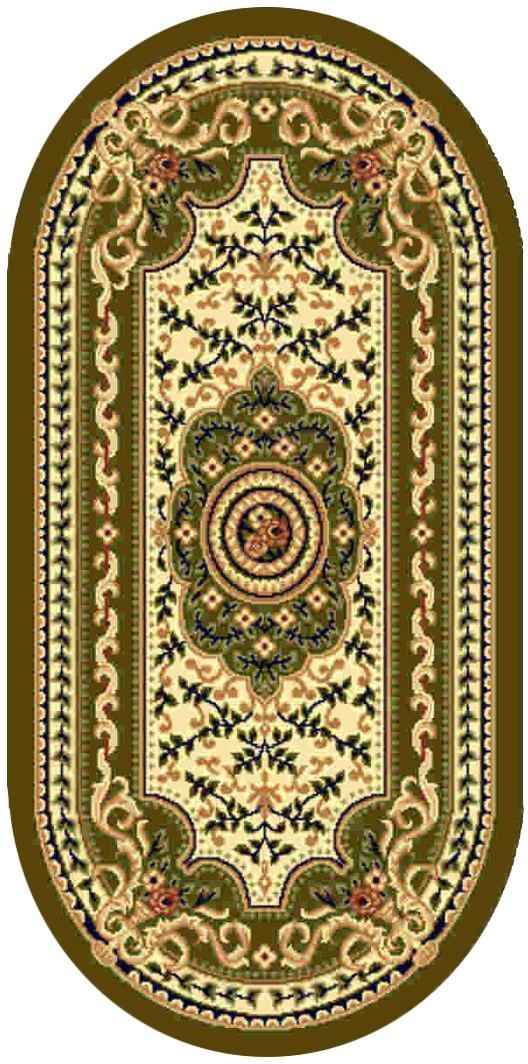 Ковер Kamalak tekstil, овальный, цвет: кремовый, 60 x 110 см. УК-0411УК-0411Ковры-паласы выполнены из полипропилена. Ковры обладают хорошими показателями теплостойкости и шумоизоляции. Являются гиппоалергенными. За счет невысокого ворса ковры легко чистить. Вам придется по душе широкая гамма цветов и возможность гармонично оформить интерьер. Практичный и устойчивый к износу ворс - от постоянного хождения не истирается, не накапливает статическое электричество. Структура волокна в полипропиленовых моделях гладкая, поэтому грязь не может выесться, на ворсе она скапливается с трудом. Полипропилен не впитывает влагу, отталкивает водянистые пятна. Уход: Самый простой способ избавить изделие от грязи – пропылесосить его с обеих сторон (лицевой и изнаночной). Влажная уборка с применением шампуней и моющих средств не противопоказана. Если шерсти и шёлку универсальные чистящие составы не подходят, то для синтетики они придутся в самый раз. Хранить их нужно рулоном, не складывая «салфеткой». При надлежащем уходе синтетический ковёр прослужит долго, не утратив ни...