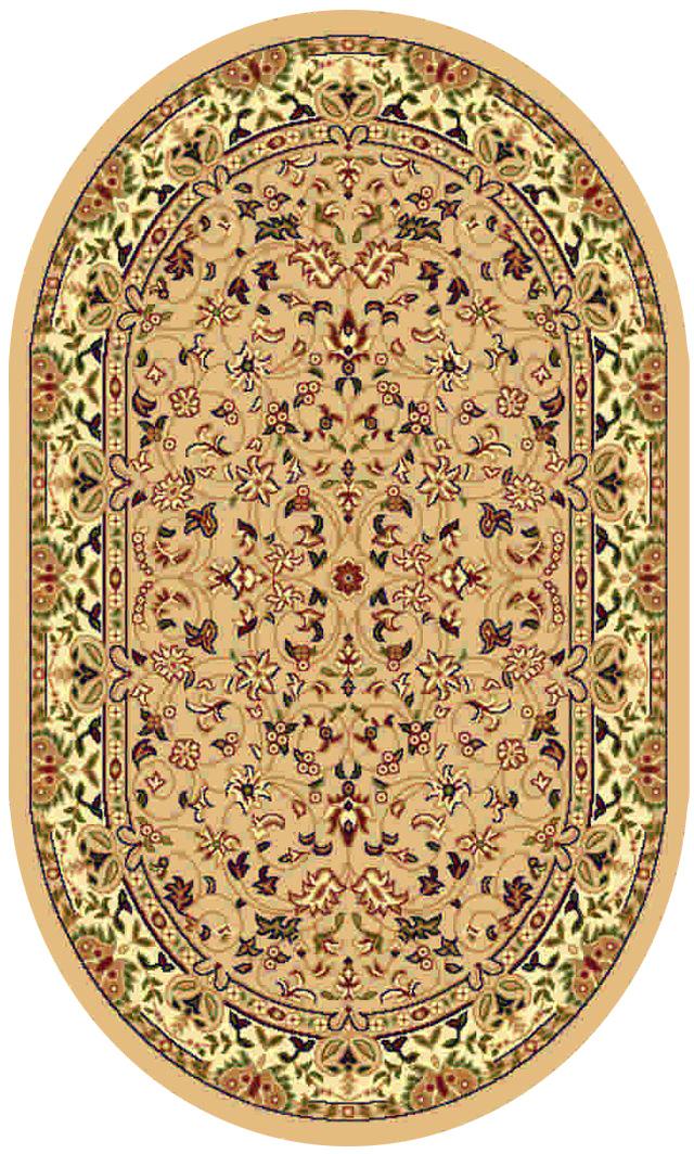 Ковер Kamalak tekstil, овальный, цвет: бежевый, 60 x 110 см. УК-0160УК-0160Ковры-паласы выполнены из полипропилена. Ковры обладают хорошими показателями теплостойкости и шумоизоляции. Являются гиппоалергенными. За счет невысокого ворса ковры легко чистить. Вам придется по душе широкая гамма цветов и возможность гармонично оформить интерьер. Практичный и устойчивый к износу ворс - от постоянного хождения не истирается, не накапливает статическое электричество. Структура волокна в полипропиленовых моделях гладкая, поэтому грязь не может выесться, на ворсе она скапливается с трудом. Полипропилен не впитывает влагу, отталкивает водянистые пятна. Уход: Самый простой способ избавить изделие от грязи – пропылесосить его с обеих сторон (лицевой и изнаночной). Влажная уборка с применением шампуней и моющих средств не противопоказана. Если шерсти и шёлку универсальные чистящие составы не подходят, то для синтетики они придутся в самый раз. Хранить их нужно рулоном, не складывая «салфеткой». При надлежащем уходе синтетический ковёр прослужит долго, не утратив ни...