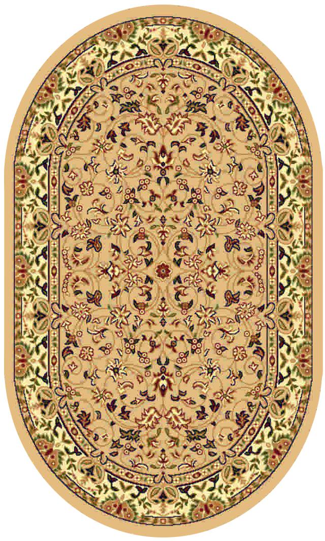 Ковер Kamalak tekstil, овальный, цвет: бежевый, 100 x 150 см. УК-0156УК-0156Ковры-паласы выполнены из полипропилена. Ковры обладают хорошими показателями теплостойкости и шумоизоляции. Являются гиппоалергенными. За счет невысокого ворса ковры легко чистить. Вам придется по душе широкая гамма цветов и возможность гармонично оформить интерьер. Практичный и устойчивый к износу ворс - от постоянного хождения не истирается, не накапливает статическое электричество. Структура волокна в полипропиленовых моделях гладкая, поэтому грязь не может выесться, на ворсе она скапливается с трудом. Полипропилен не впитывает влагу, отталкивает водянистые пятна. Уход: Самый простой способ избавить изделие от грязи – пропылесосить его с обеих сторон (лицевой и изнаночной). Влажная уборка с применением шампуней и моющих средств не противопоказана. Если шерсти и шёлку универсальные чистящие составы не подходят, то для синтетики они придутся в самый раз. Хранить их нужно рулоном, не складывая «салфеткой». При надлежащем уходе синтетический ковёр прослужит долго, не утратив ни...
