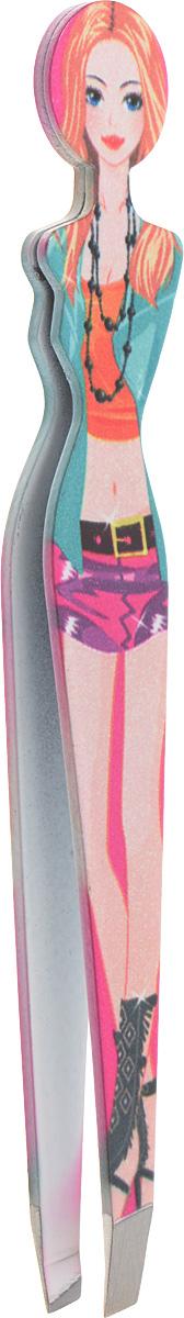 Пинцет для бровей Solinberg F122, цветной, наклонное окончание с четкими гранями