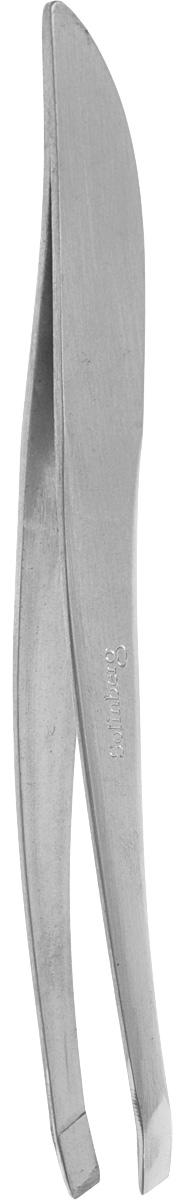 Пинцет для бровей Solinberg G772з (ручная заточка), матовый, наклонное окончание с четкими гранями.