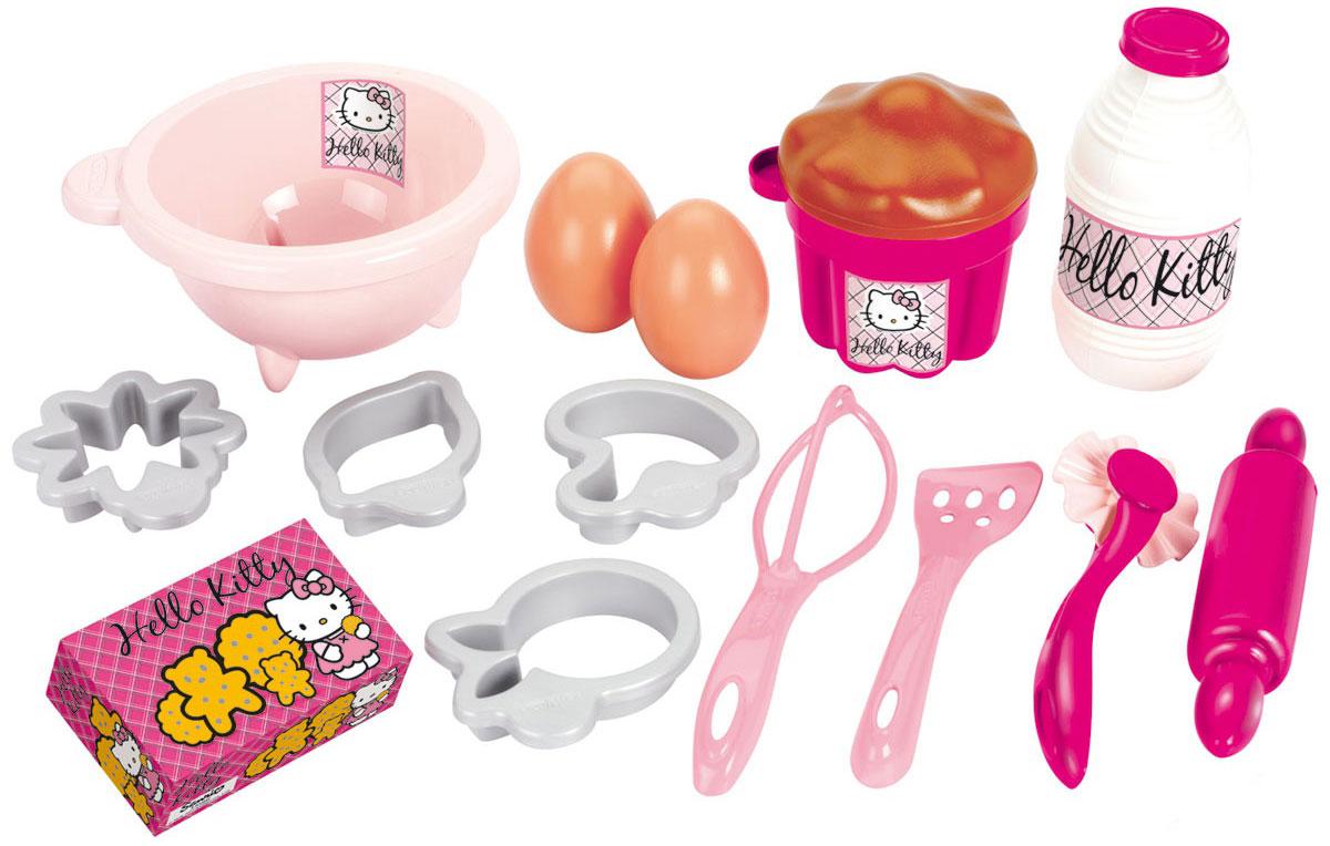 Ecoiffier Игровой набор посуды с продуктами Hello Kitty2610Игровой набор Ecoiffier Hello Kitty обязательно порадует маленькую хозяйку. В набор входит все необходимое для приготовления вкусной выпечки: миска, 4 формочки для выпечки, венчик, скалка, лопатка, круглый нож для разрезания теста. Из продуктов представлены 2 яйца, бутылка молока, коробка печенья и кекс. С таким набором малышка сможет приготовить вкусное печенье, кексы и все, что подскажет ее фантазия. Сделайте вашей малышке такой замечательный подарок!