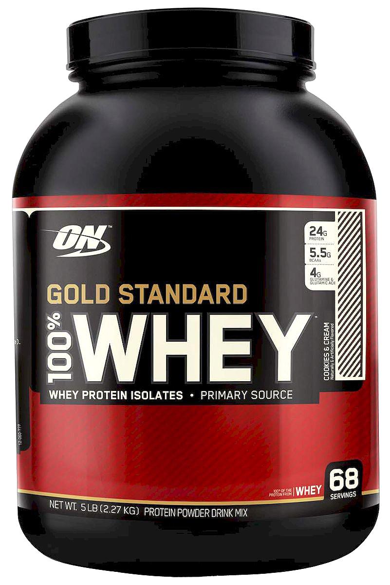 Протеин Optimum Nutrition 100% Вей Голд. Печен-Крем, 2268 гON8683ON 100% Whey Gold Standard – этот сывороточный протеин является самым популярным и качественным протеином на протяжении уже многих лет. Сывороточный протеин, которому доверяют миллионы спортсменов по всему миру от любителей до титулованных профессионалов. ON 100% Whey Gold Standard 10lb своего рода звезда в индустрии спортивного питания! ON 100% Whey Gold Standard 10lb был удостоен награды Лучшая спортивная добавка года и Протеин года в 2005, 2006, 2007, 2008, 2009 и 2010 годах. Ни один другой продукт не имеет столько наград! Стоит отдать должное компании Optimum Nutrition давшей миру поистине высококачественный продукт, одним словом стандарт на который в последующем равнялись все производители сывороточных протеинов. Запатентованная смесь ON 100% Whey Gold Standard 10lb включает в себя: микро-фильтрованный изолят сывороточного протеина ионообменный изолят сывороточного протеина ультрофильтрованный концентрат сывороточного протеина Hydro Whey...