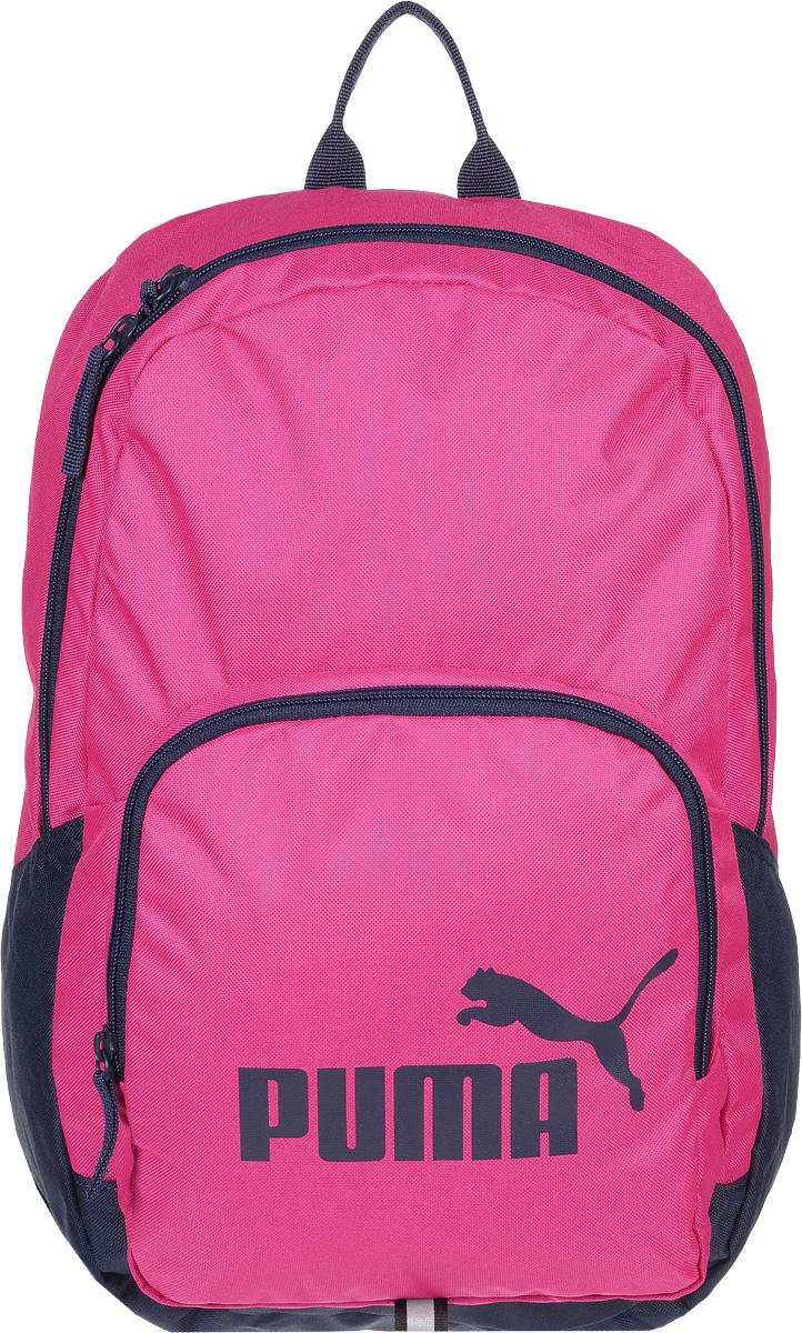 Рюкзак городской женский Puma Phase Backpack, цвет: фуксия. 0735890907358909Яркий функциональный рюкзак Phase Backpack от Puma создан для любителей активного образа жизни. Модель выполнена из полиэстера и декорирована набивным логотипом Puma Cat. Рюкзак имеет главное отделение на молнии, открывающейся с двух сторон, карман спереди на застежке-молнии, износостойкую подкладку из полиэстера с изнанкой из полиуретана и наплечные лямки закругленной формы регулируемой длины с мягкой подложкой. Лямки снабжены петлями из светоотражающего материала с символикой Puma, а сам рюкзак - петлей из светоотражающего материала и ручкой для переноски из лямочной ленты. Обращенная к спине часть рюкзака имеет мягкую подложку. Основанный в 1948 году бренд Puma стал выбором многих героев мирового спорта. Дизайн Puma сосредоточен на стиле и функциональности моделей, поэтому коллекции брендовой одежды и обуви сочетают современный стиль с инновационными спортивными технологиями.
