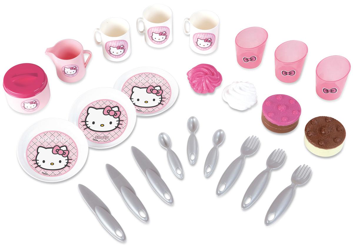 Smoby Игровой набор Пикник Hello Kitty24768Игровой набор Smoby Пикник Hello Kitty обязательно порадует маленькую хозяйку. В набор входит все необходимое для пикника: 3 чашки, 3 стакана, кувшин, баночка, 3 тарелки, 3 ножа, 3 ложки, 3 вилки, 4 пирожных. Все предметы упакованы в настоящую корзинку для пикника. С таким набором малышка сможет устроить веселый пикник со своими игрушками. Сделайте вашей малышке такой замечательный подарок!