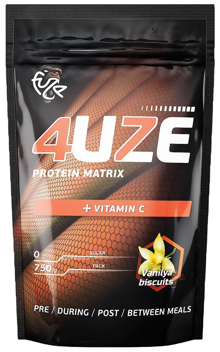 Протеин PureProtein Fuze, ванильное печенье, 750 г36102674uze + Vitamin C подойдет всем, кто занимается в тренажерном зале, увлекается функциональным тренингом, а также баскетболом, регби или футболом. Наличие витамина С способствует усилению иммунитета. Ингредиенты: концентрат сывороточного белка - 37,6%, концентрат молочного белка - 18,9%, сухой яичный белок - 18,9%, изолят соевого белка - 19,1 %, пшеничный белок - 5,5%, фруктоза, декстроза, соевый лецитин, мальтодекстрин, алкализованное какао порошок, витамин С, ароматизатор, аспасвит (не содержит финилалалин), ксантановая камедь. Состав может меняться в зависимости от вкусов, но новые компоненты (из основных) не добавляются. Товар сертифицирован.