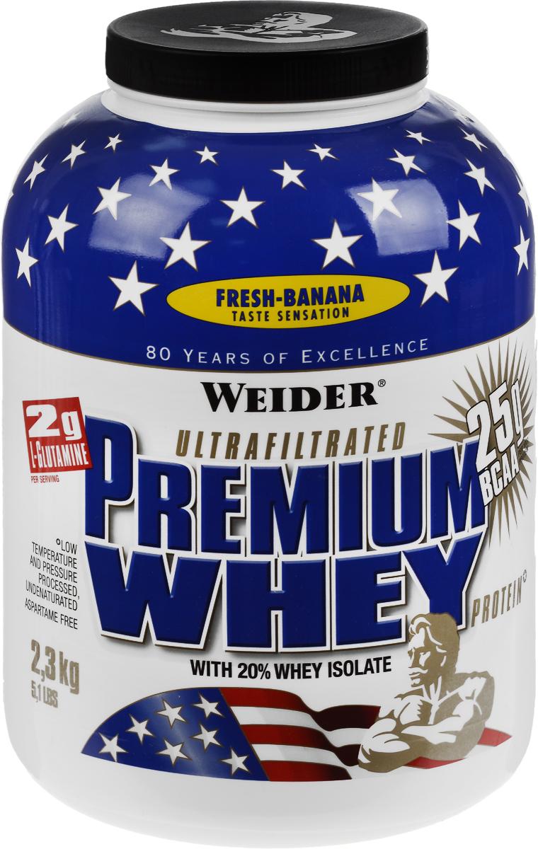 Протеин сывороточный Weider Premium Whey, банан, 2,3 кг30251Протеин Weider Premium Whey - это порошок для приготовления напитка на основе сывороточного протеина, содержит L-глутамин, витамин В6, кальций и подсластители. Отличное диетическое питание для спортсменов, предназначенное для компенсации расходов при интенсивной мышечной нагрузке. Сывороточный протеин обладает приятным вкусом и наивысшей биологической ценностью, отвечает всем физиологическим потребностям, лучше всего переносится организмом и дает прирост чистой мышечной массы. В качестве сырья используется микрофильтрованный протеин, который не выносит высоких температур и высокого давления. В состав продукта входят важнейшие аминокислоты с разветвленной структурой (BCAA), которые не дадут вашим мышцам мучиться от катаболизма, и глутамин. Premium Whey также содержит глобулин и гликомакропептиды, которые являются биологически активными веществами. Они способствуют укреплению здоровья подобно пробиотикам или Омега-3 жирным кислотам. В Premium Whey содержатся бета- и...