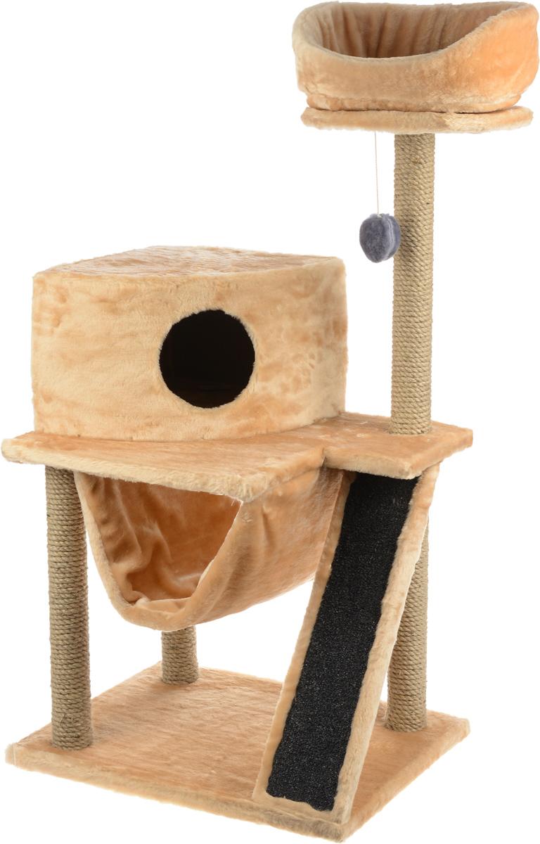 Игровой комплекс для кошек ЗооМарк Мурка, цвет: серый, песочный, 60 х 45 х 120 см125_серый, песочныйИгровой комплекс для кошек ЗооМарк Мурка выполнен из высококачественного дерева и обтянут искусственным мехом. Изделие предназначено для кошек. Комплекс имеет 3 яруса. Ваш домашний питомец будет с удовольствием точить когти о специальные столбики, изготовленные из джута. Также точить когти поможет площадка, оснащенная вставкой из ковролина. А отдохнуть он сможет либо на полках, либо домике или гамаке. На одной из полок расположена игрушка, которая еще сильнее привлечет внимание питомца. Общий размер: 60 х 45 х 120 см. Размер домика: 37 х 37 х 25 см. Диаметр верхней полки: 30 см. Уважаемые покупатели! Обращаем ваше внимание на тот факт, что размеры могут незначительно отличаться в пределах 3-4 см в высоту и ширину.