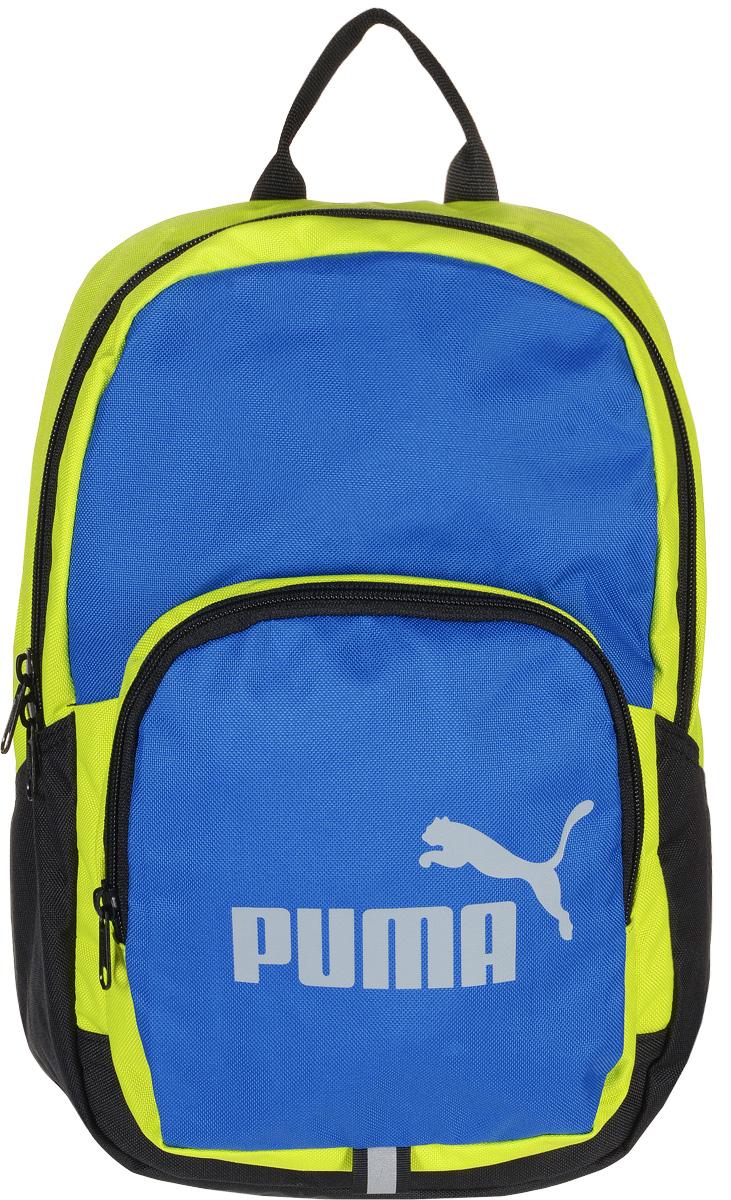 Рюкзак Puma Phase Small Backpack, цвет: желтый, голубой. 0741040107410401Яркий функциональный рюкзак Phase Small Backpack от Puma создан для любителей активного образа жизни. Модель выполнена из полиэстера. Рюкзак имеет главное отделение на молнии, открывающейся с двух сторон, карман спереди на застежке-молнии, износостойкую подкладку из полиэстера с изнанкой из полиуретана и наплечные лямки закругленной формы регулируемой длины с мягкой подложкой. Лямки снабжены петлями из светоотражающего материала с символикой Puma, а сам рюкзак - накладкой из светоотражающего материала с фирменной символикой спереди и ручкой для переноски из лямочной ленты. Обращенная к спине часть рюкзака имеет мягкую подложку. Основанный в 1948 году бренд Puma стал выбором многих героев мирового спорта. Дизайн Puma сосредоточен на стиле и функциональности моделей, поэтому коллекции брендовой одежды и обуви сочетают современный стиль с инновационными спортивными технологиями.