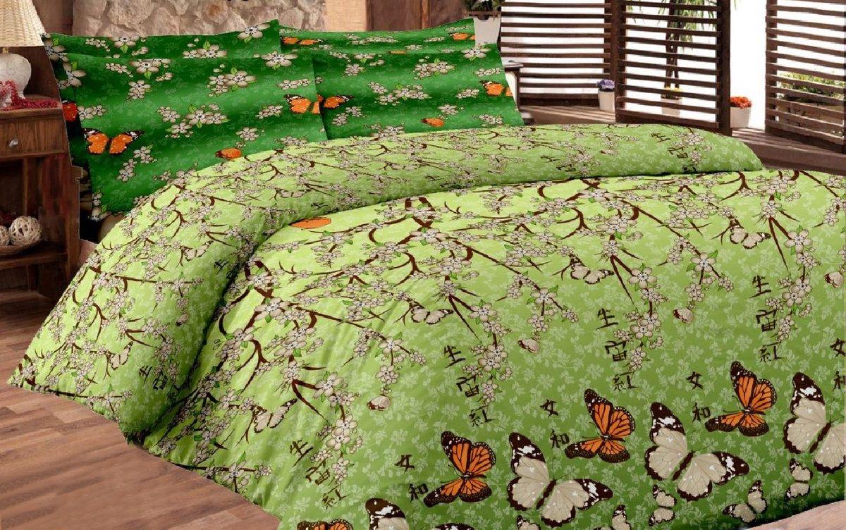 Комплект белья Liya Home Collection Ветка сакуры, семейный, наволочки 70x70, цвет: зеленый0000120001523Liya Tekstil производитель тканей и готовой продукции для дома.В нашем ассортименте комплекты постельного белья из - поплина ( 100% хлопок пл 115х125 гр/м2 ),- сатина ( 100% хлопок пл 130х140 гр/м2,) ,поликаттон (60%хлопка,40%пэ 115гр/м2), крашение реактив.Мы гарантируем ГОСТовский пошив наших комплектов, эксклюзивная упаковка которая пользуется спросом на рынке.