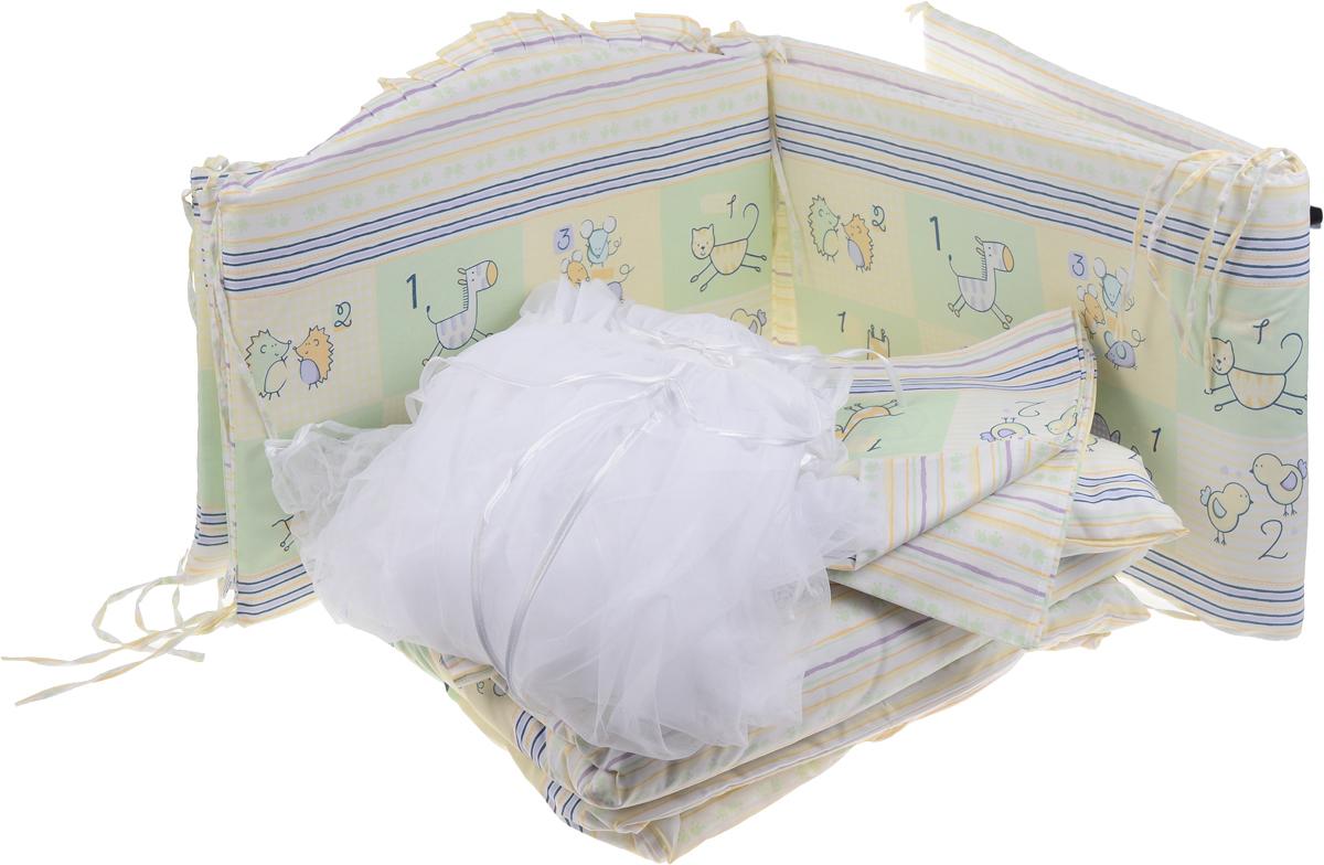 Сонный Гномик Комплект в кроватку Считалочка цвет салатовый 7 предметов705/3_салатовыйКомплект в кроватку Сонный Гномик Считалочка прекрасно подойдет для кроватки вашего малыша, добавит комнате уюта и согреет в прохладные дни. В качестве материала верха использован натуральный хлопок безупречной выделки с авторским рисунком, мягкая ткань не раздражает чувствительную и нежную кожу ребенка и хорошо вентилируется. Деликатные швы рассчитаны на прикосновение к нежной коже ребенка. Бортик, подушка и одеяло наполнены холлконом - экологически безопасным гипоаллергенным синтетическим материалом, обладающим высокими теплозащитными свойствами. Элементы комплекта оформлены изображениями забавных животных. Комплект состоит из бортика с несъемными чехлами, балдахина с сеткой, подушки, одеяла, пододеяльника, наволочки и простыни. Для производства изделий Сонный гномик используются только высококачественные ткани ведущих мировых производителей. Благодаря особым технологиям сбора и переработки хлопка сохраняется естественная природная структура волокна.