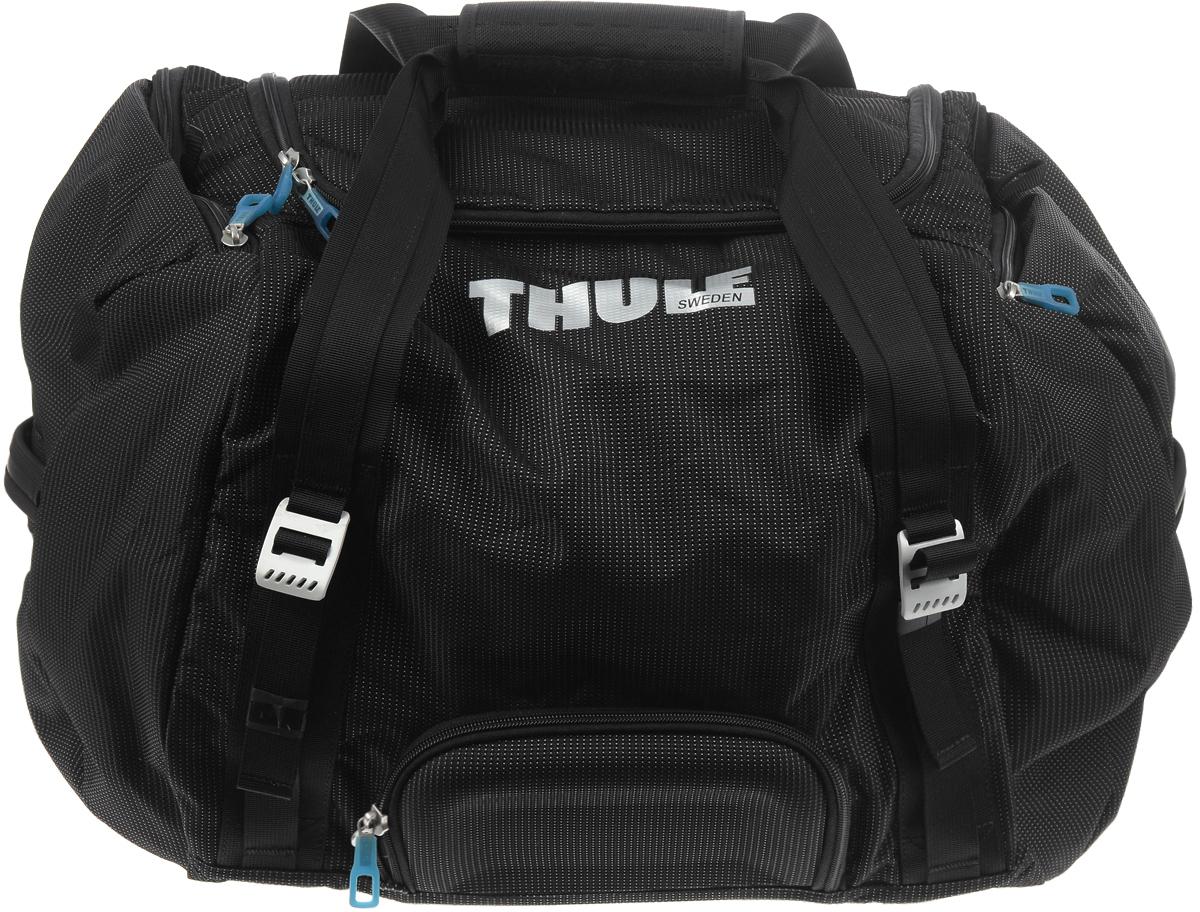 Сумка дорожная Thule Crossover Duffel, цвет: черный, 70 л3201081Сумка дорожная Crossover Duffel - идеальная сумка для дальних путешествий. Этот гибрид рюкзака и спортивной сумки с молнией сзади обеспечивает сохранность любого содержимого. Такая сумка станет надежным спутником в недолгих путешествиях, походах в спортзал и других жизненных ситуациях. Данная модель способна вместить большое количество необходимых вещей и предметов.