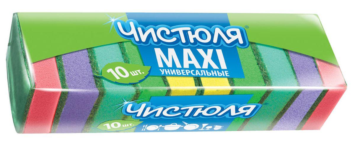 Губка для мытья посуды Чистюля Maxi, с абразивным слоем, 64 х 96 х 27 см, 10 штП0305Удобный размер. Качественный жесткий абразив. Губка сохраняет хорошую форму в течение всего срока службы.