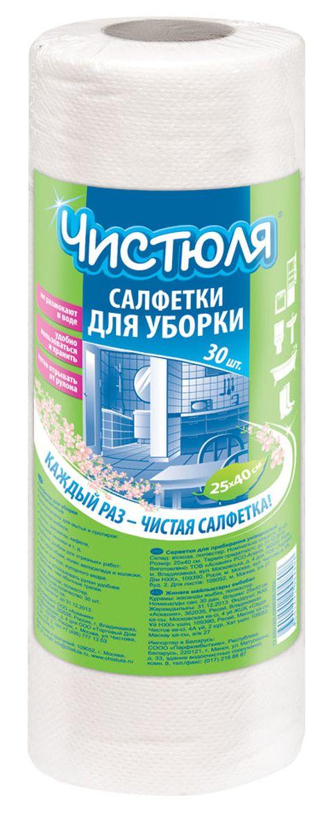 Салфетка для уборки Чистюля, в рулоне, 25 х 40 см, 30 штС001Идеальны в качестве одноразовых для грязных работ. БОЛЬШИЕ ЛИСТЫ: 25х40 см.