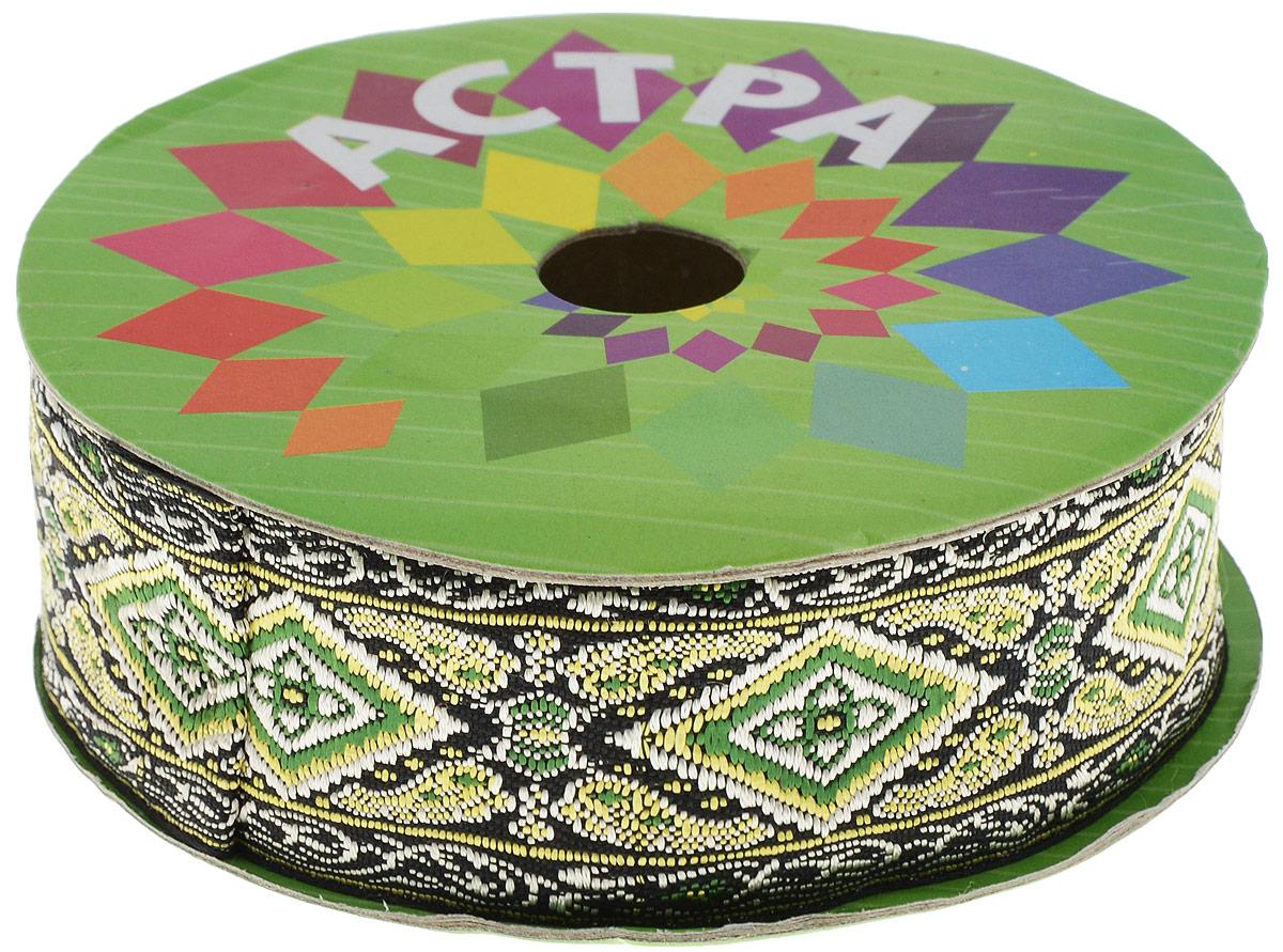 Тесьма декоративная Астра, цвет: черный, ширина 4 см, длина 9 м. 77034467703446_зеленыйДекоративная тесьма Астра выполнена из текстиля и оформлена оригинальным жаккардовым орнаментом. Такая тесьма идеально подойдет для оформления различных творческих работ таких, как скрапбукинг, аппликация, декор коробок и открыток и многое другое. Тесьма наивысшего качества и практична в использовании. Она станет незаменимым элементом в создании рукотворного шедевра. Ширина: 4 см. Длина: 9 м.