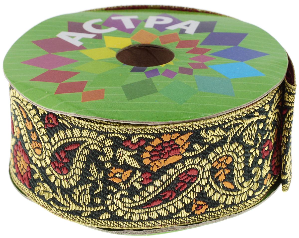 Тесьма декоративная Астра, цвет: темно-зеленый, ширина 4 см, длина 9 м. 77034277703427_т.зеленыйДекоративная тесьма Астра выполнена из текстиля и оформлена оригинальным жаккардовым орнаментом. Такая тесьма идеально подойдет для оформления различных творческих работ таких, как скрапбукинг, аппликация, декор коробок и открыток и многое другое. Тесьма наивысшего качества и практична в использовании. Она станет незаменимым элементом в создании рукотворного шедевра. Ширина: 4 см. Длина: 9 м.