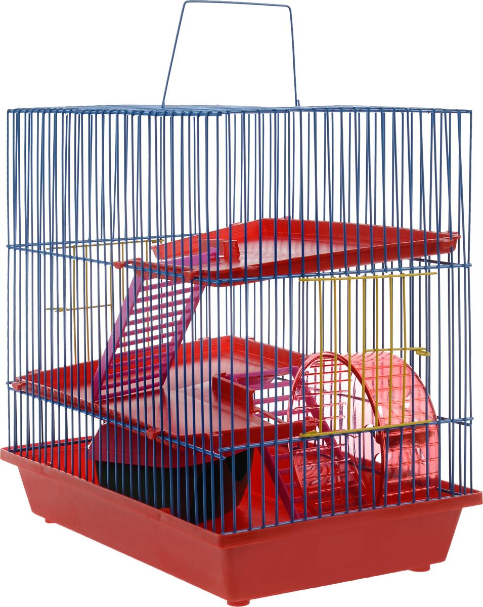 Клетка для грызунов ЗооМарк, 3-этажная, цвет: красный поддон, синяя решетка, красные этажи, 36 х 22,5 х 34 см. 135135_синий, красныйКлетка ЗооМарк, выполненная из полипропилена и металла, подходит для мелких грызунов. Изделие трехэтажное, оборудовано колесом для подвижных игр и пластиковым домиком. Клетка имеет яркий поддон, удобна в использовании и легко чистится. Сверху имеется ручка для переноски. Такая клетка станет уединенным личным пространством и уютным домиком для маленького грызуна.