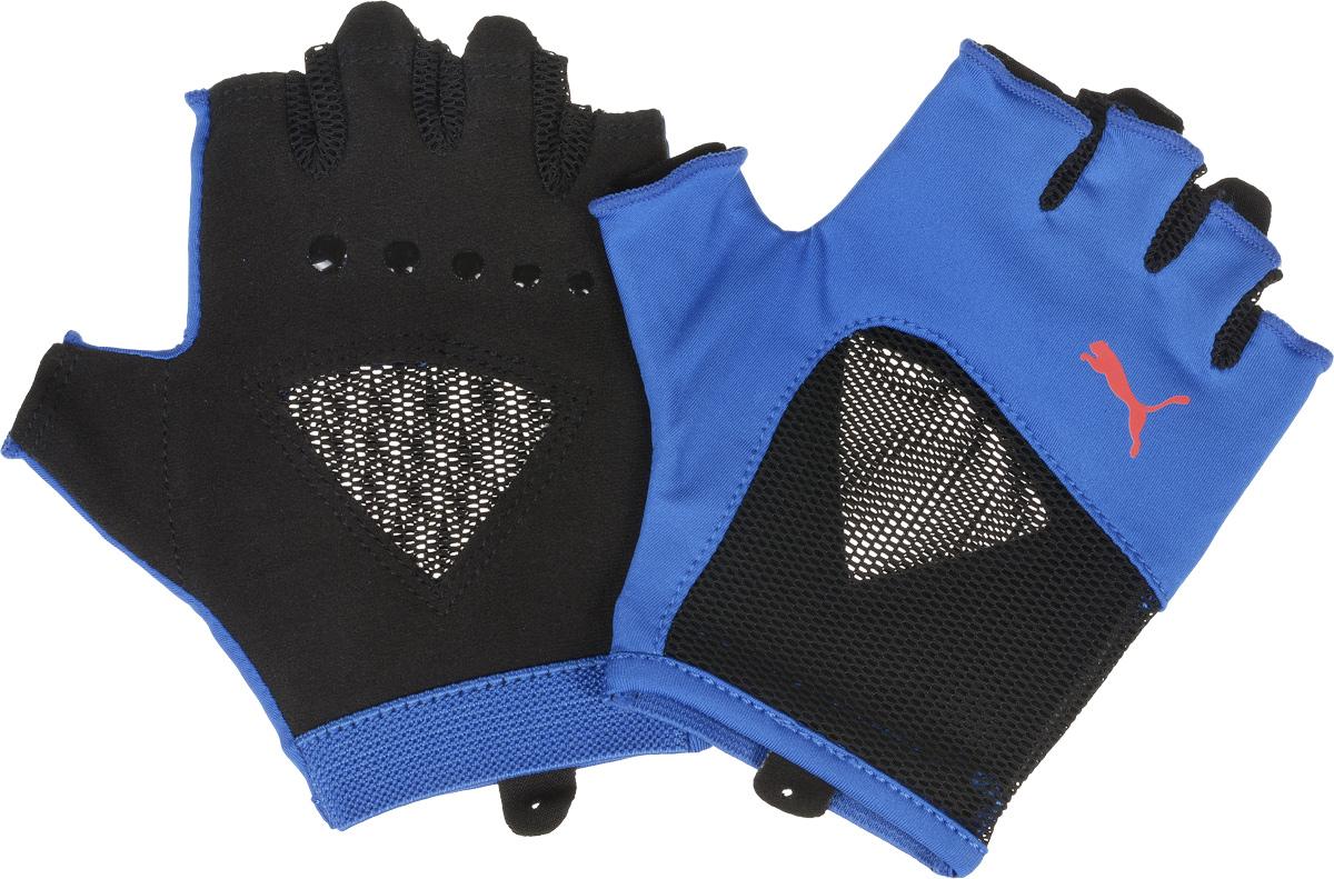 Перчатки для фитнеса женские Puma Gym Gloves, цвет: голубой, черный. 04126501. Размер M (24)04126501_голубой, черный_M (24)Мягкая замша и подложка на ладони и большом пальце перчаток обеспечивают комфорт и износостойкость, сетчатые вставки со стороны ладони способствуют лучшей вентиляции, а покрытие из силиконовых точек улучшает захват. Сочетание эластичного и сетчатого материала на тыльной стороне перчаток, украшенной также цветным логотипом Puma, заставляет изделие плотно облегать руку, а эластичная отделка манжет облегчает процесс снимания и надевания.