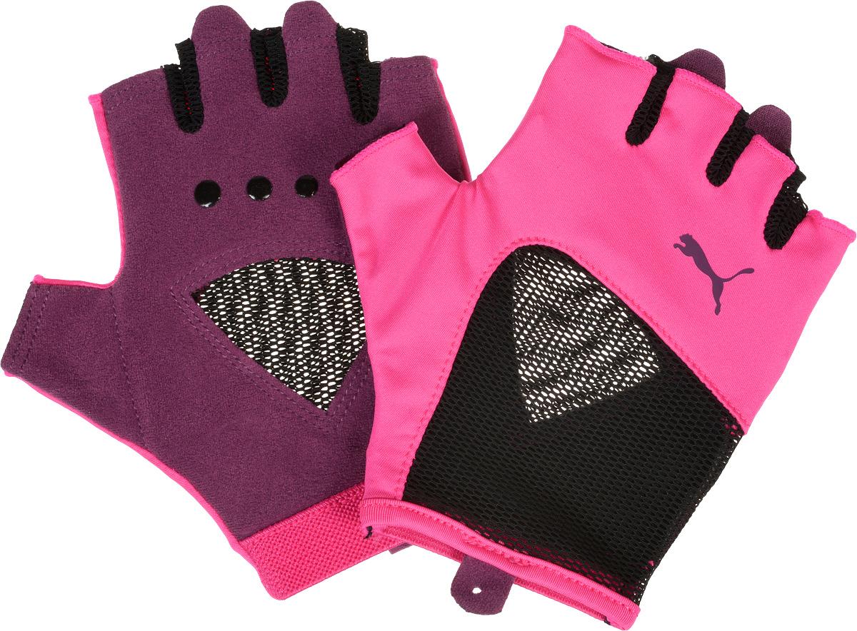 Перчатки для фитнеса женские Puma Gym Gloves, цвет: розовый, черный. 04126503. Размер M (24)04126503_розовый, черный_M (24)Мягкая замша и подложка на ладони и большом пальце перчаток обеспечивают комфорт и износостойкость, сетчатые вставки со стороны ладони способствуют лучшей вентиляции, а покрытие из силиконовых точек улучшает захват. Сочетание эластичного и сетчатого материала на тыльной стороне перчаток, украшенной также цветным логотипом Puma, заставляет изделие плотно облегать руку, а эластичная отделка манжет облегчает процесс снимания и надевания.