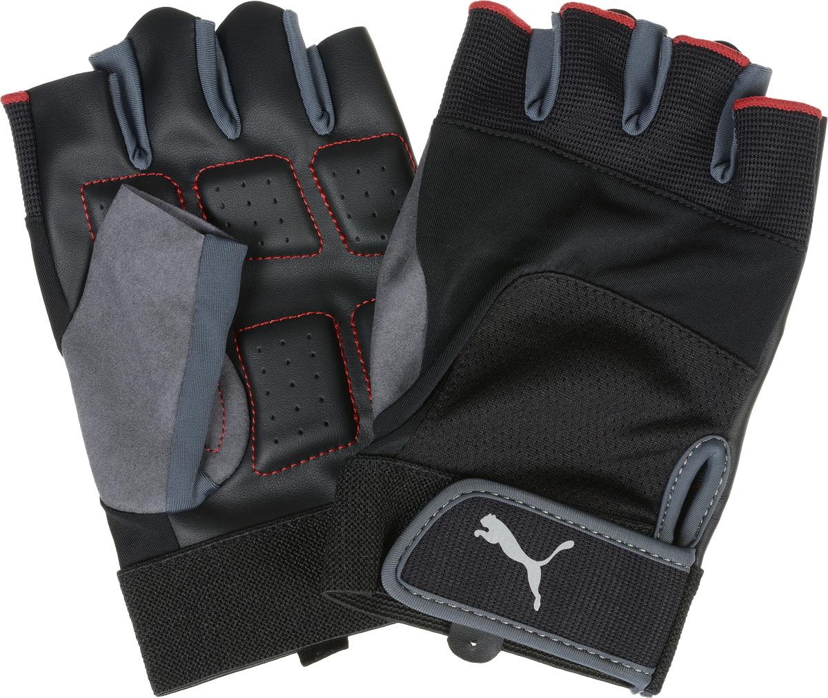 Перчатки для фитнеса Puma Training Gloves Up, цвет: черный, серый. 04114401. Размер L (27)