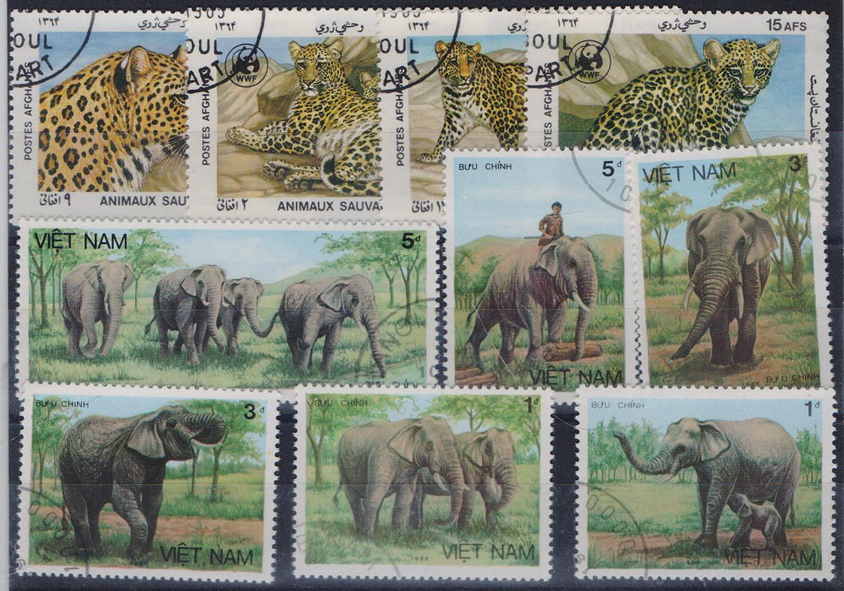 Комплект из 10 марок Ягуары и слоны. Афганистан, Вьетнам. 1986 годМКСПБ 39-2016.21Комплект из 10 марок Ягуары и слоны. Афганистан, Вьетнам. 1986 год. Размер марок: 3.2 х 4.5 см и 3.7 х 5 см. Сохранность хорошая.