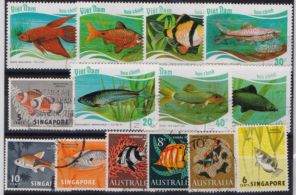Комплект из 14 марок Экзотические рыбы. Австралия, Вьетнам, Сингапур, 1987 годМКСПБ 39-2016.21Комплект из 14 марок Экзотические рыбы. Австралия, Вьетнам, Сингапур, 1987 год. Размер марок: 2.5 х 3.3 см, 2.5 х 3 см и 3.2 х 4.5 см. Сохранность хорошая.