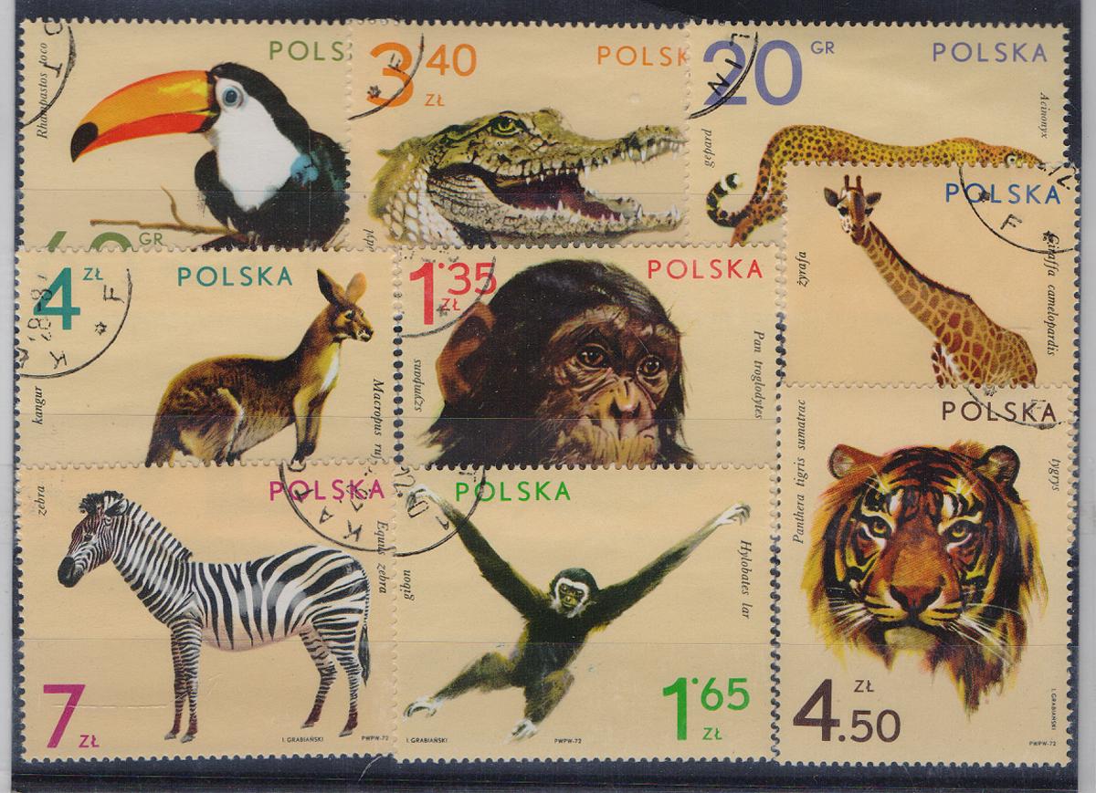 Комплект из 9 марок Звери и птицы Африки и Австралии. Польша, 1983 годМКСПБ 39-2016.21