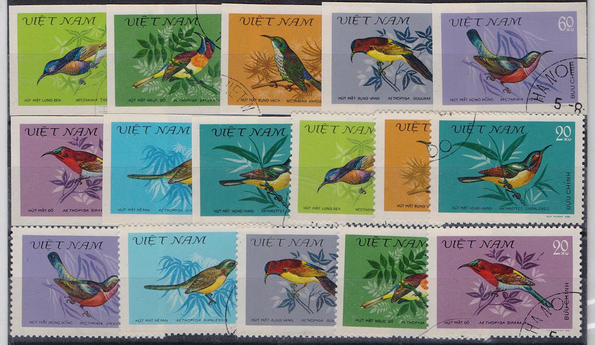 Комплект из 16 марок Птицы Вьетнама. Вьетнам, 1985 годМКСПБ 39-2016.20