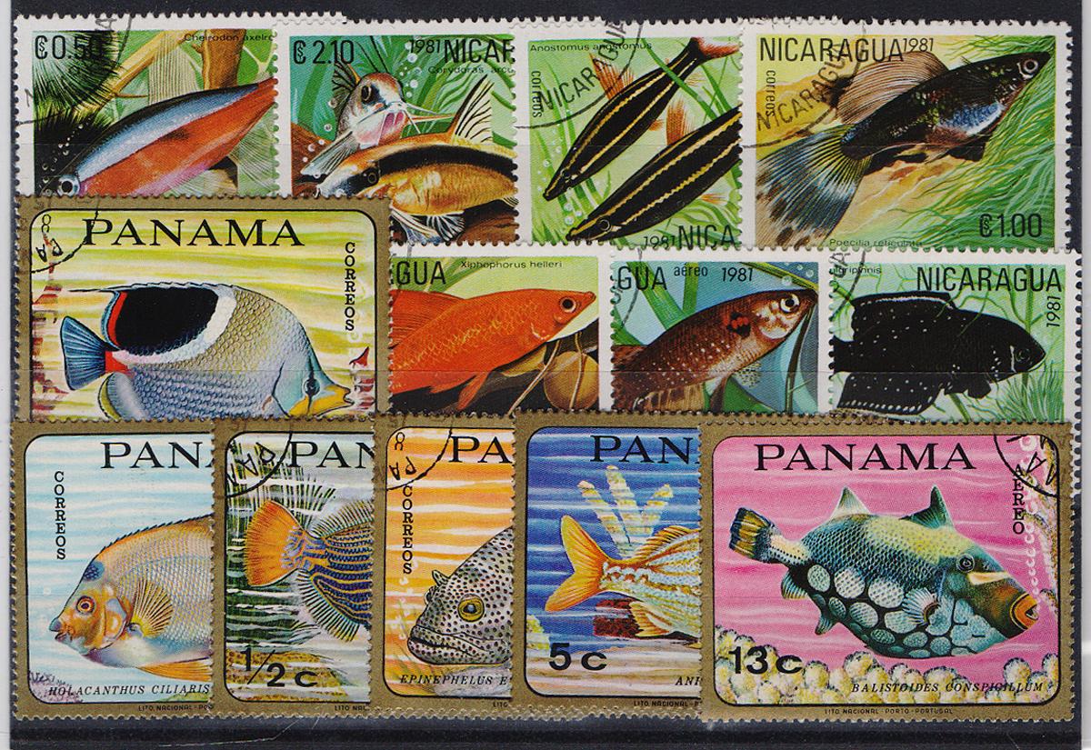 Комплект из 12 марок Рыбы. Никарагуа, Панама, 1981 годМКСПБ 39-2016.14Комплект из 12 марок Рыбы. Никарагуа, Панама, 1981 год. Размер марок: 3.3 х 4.5 см и 4 х 5 см. Сохранность хорошая.