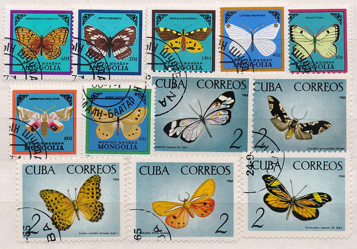 Комплект из 12 марок Бабочки. Монголия, Куба, 1986 годМКСПБ 39-2016.07