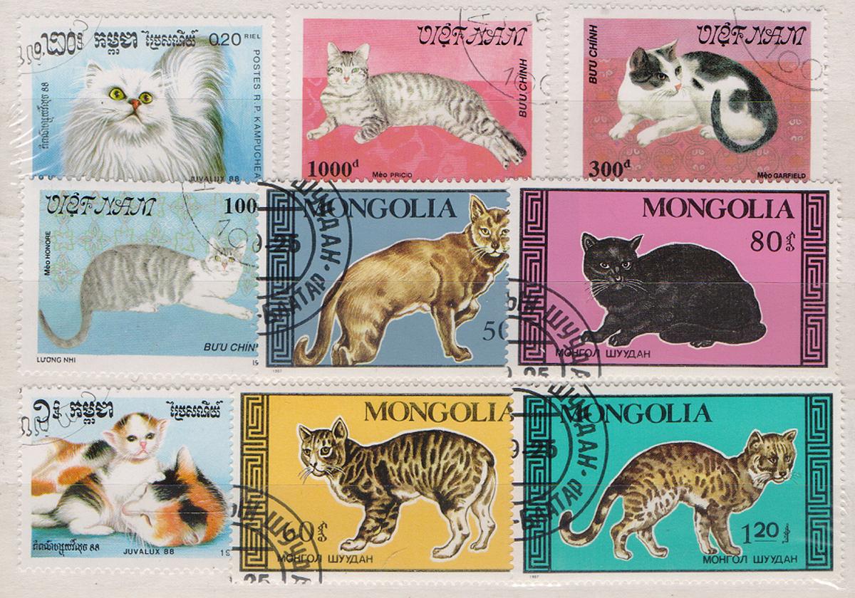 Комплект из 9 марок Кошки. Монголия, Вьетнам, 1980 годМКСПБ 39-2016.09Комплект из 9 марок Кошки. Монголия, Вьетнам, 1980 год. Размер марок: 3 х 4.2 см и 3.2 х 5.5 см. Сохранность хорошая.