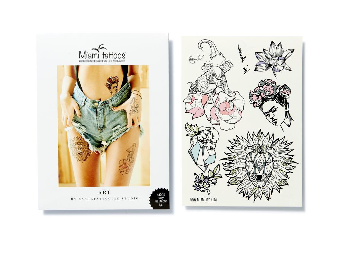 Miami Tattoos Переводные тату Art by Nora Ink, 1 лист, 29,7 см х 21 смМТ0019Нора Инк - одна из татуировщиц известной тату-студии Sasha Tattooing Studio. Ее стиль - не только женственные и изящные цветы (особенно пионы), но и мистические фигуры. Начав рисовать набор для Miami Tattoos, она не смогла остановиться на одном эскизе, а нарисовала сет из трех листов, которые сразу же стали бестселлерами.