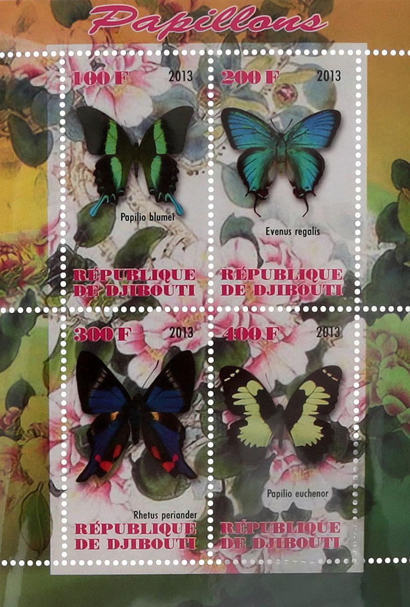 16 Почтовый блок в 4 марки Бабочки - 1. Джибути, 2013 годМКСПБ 41-2016.16