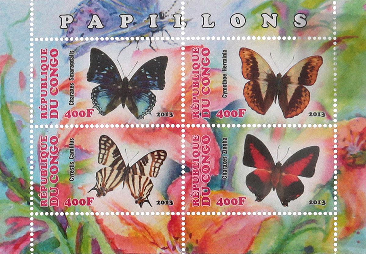 25 Почтовый блок в 4 марки Бабочки - 1. Конго, 2013 годМКСПБ 41-2016.25