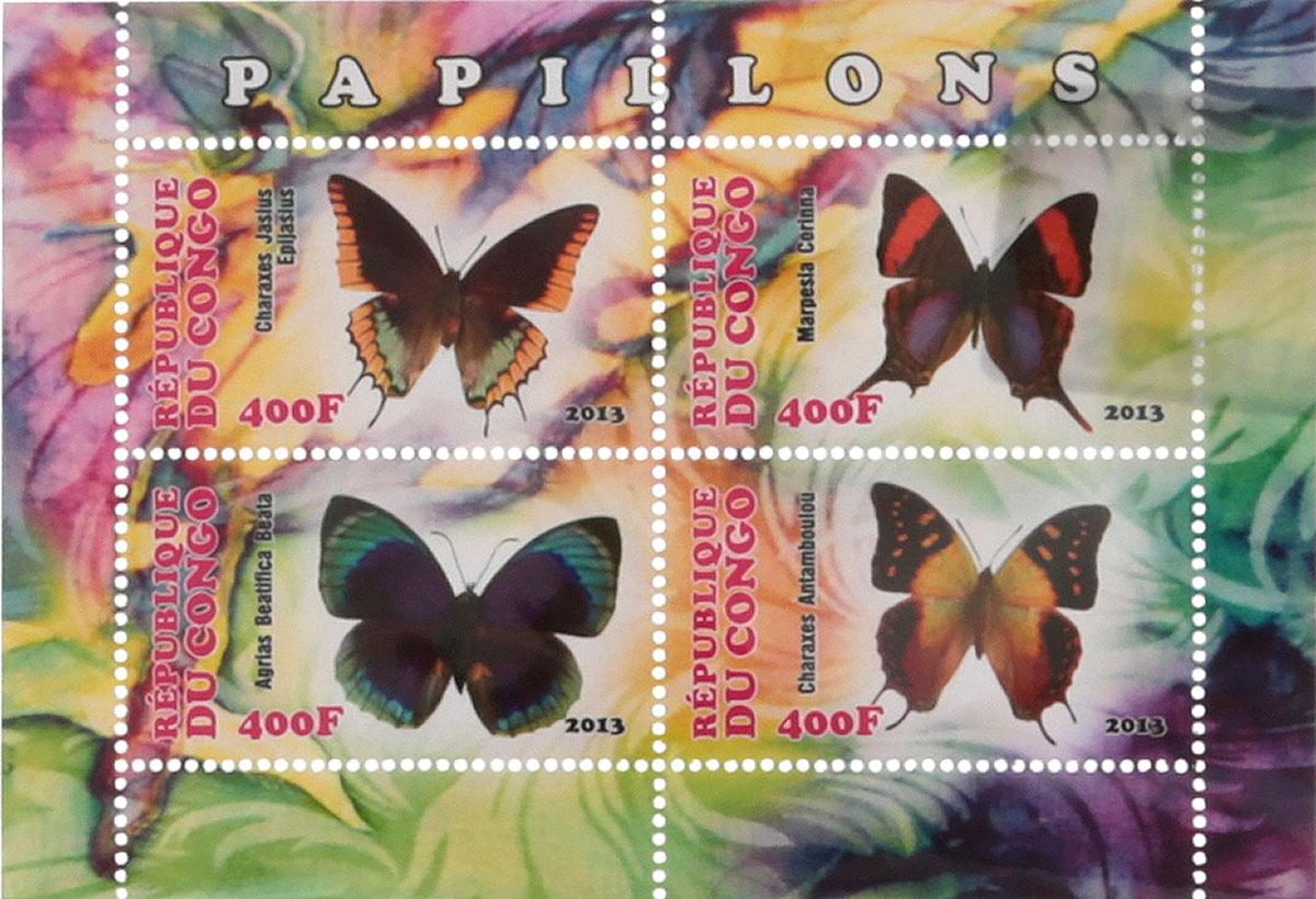 Почтовый блок в 4 марки Бабочки - 2. Конго, 2013 годМКСПБ 41-2016.25Почтовый блок в 4 марки Бабочки - 2. Конго, 2013 год. Размер блока: 7.5 х 10.7 см. Размер марок: 2.5 х 4.5 см. Сохранность хорошая.