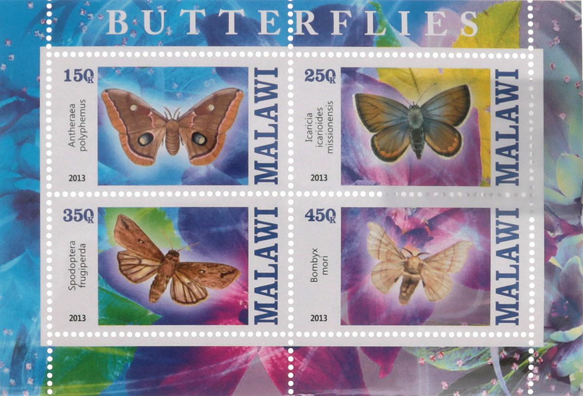 37 Почтовый блок в 4 марки Бабочки - 2. Малави, 2013 годМКСПБ 41-2016.37