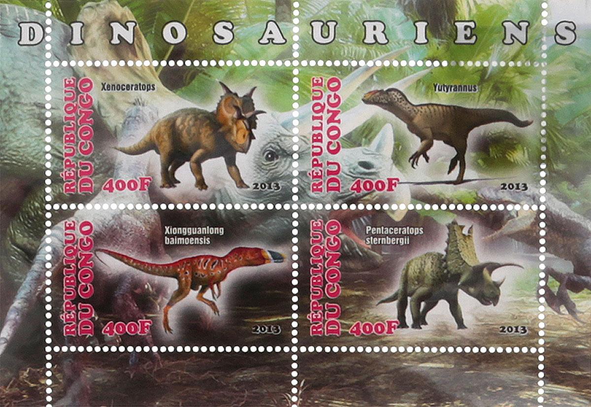 24 Почтовый блок в 4 марки Динозавры. Конго, 2013 годМКСПБ 41-2016.24