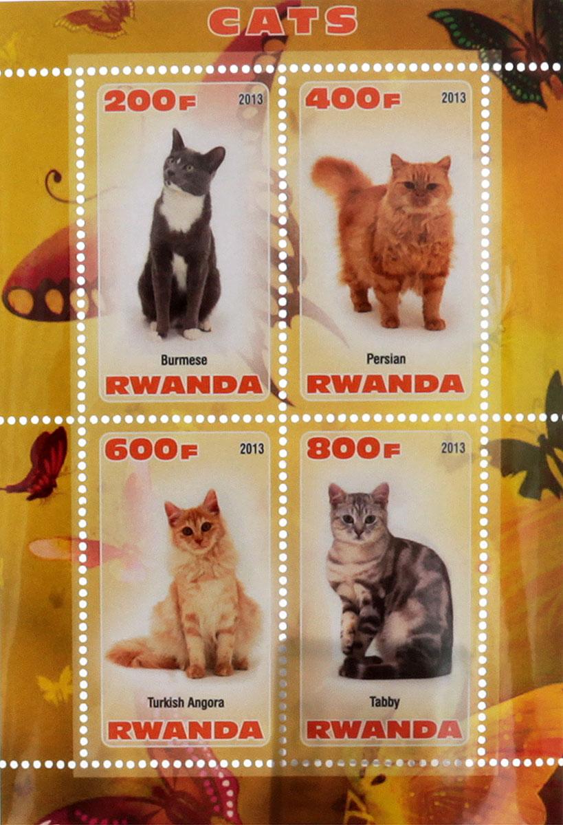 Почтовый блок в 4 марки Кошки. Руанда, 2013 годМКСПБ 41-2016.33Почтовый блок в 4 марки Кошки. Руанда, 2013 год. Размер блока: 7.3 х 10.5 см. Размер марок: 2.5 х 4.5 см. Сохранность хорошая.