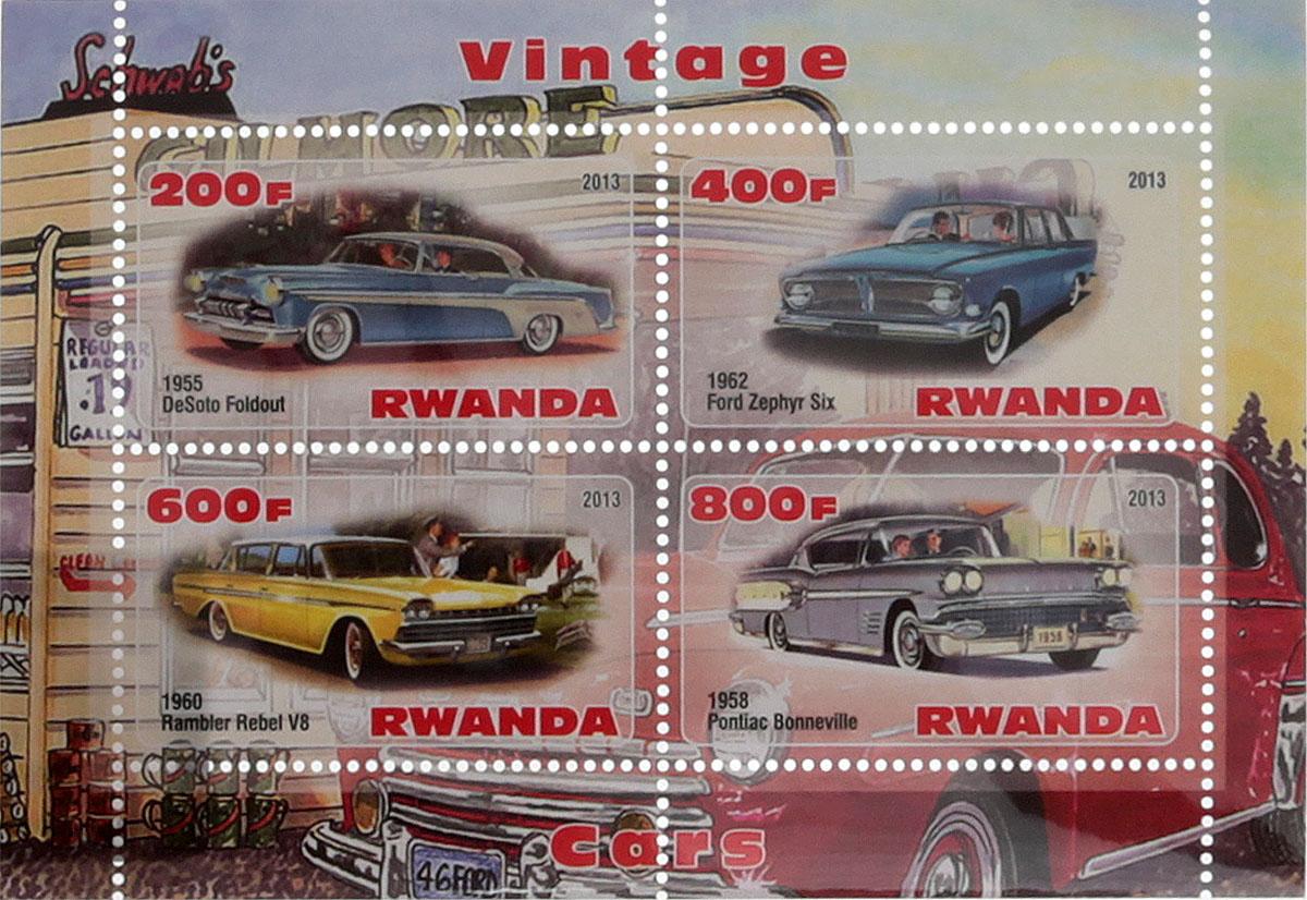33 Почтовый блок в 4 марки Винтажные автомобили - 1. Руанда, 2013 годМКСПБ 41-2016.33